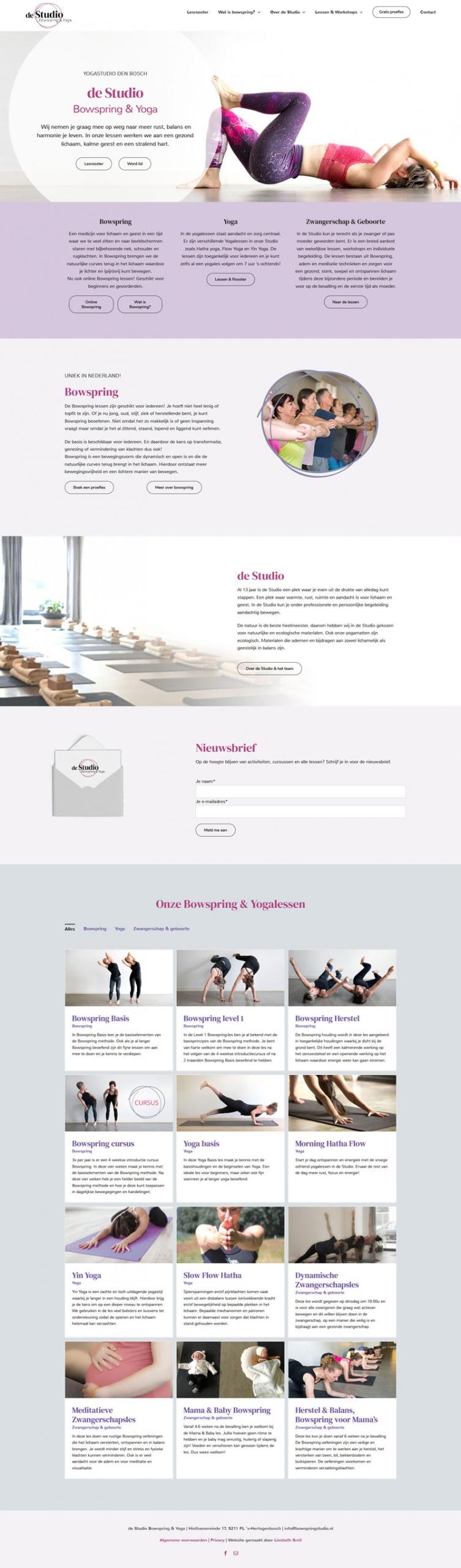 Yogastudio website design bowspring